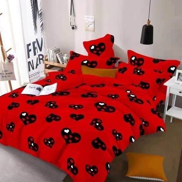 szivecske minta piros színben ágyneműhuzat