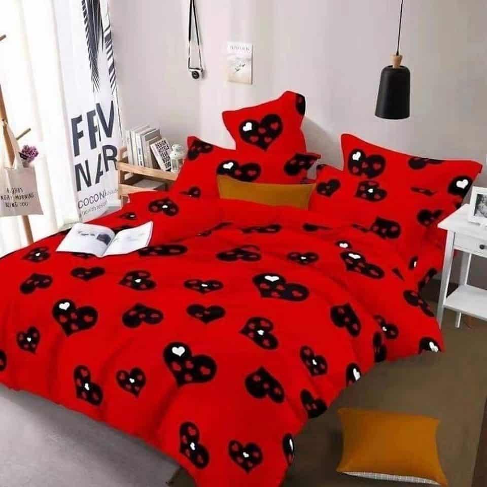 Ágynemű Piros Fekete Szivecskés