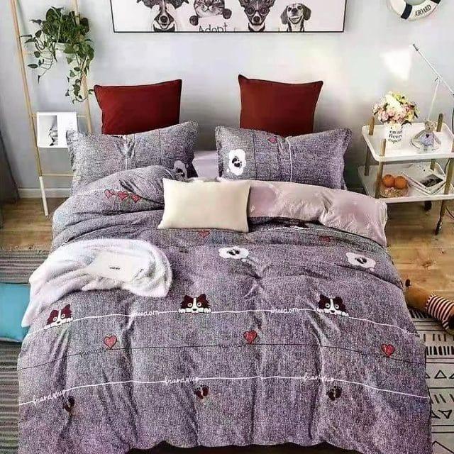 Kutyus mintával szürke színben pamut ágynemű