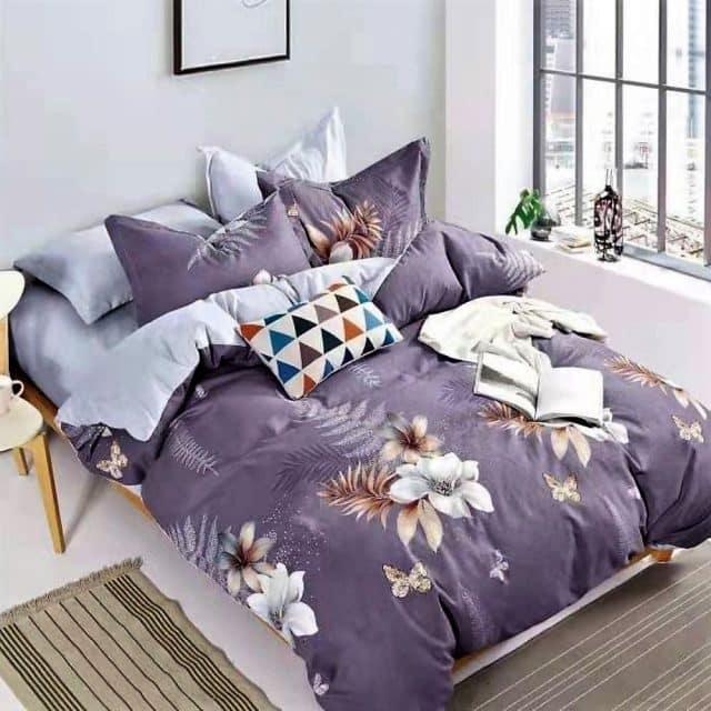 Nagy virágok lila színben pamut ágynemű
