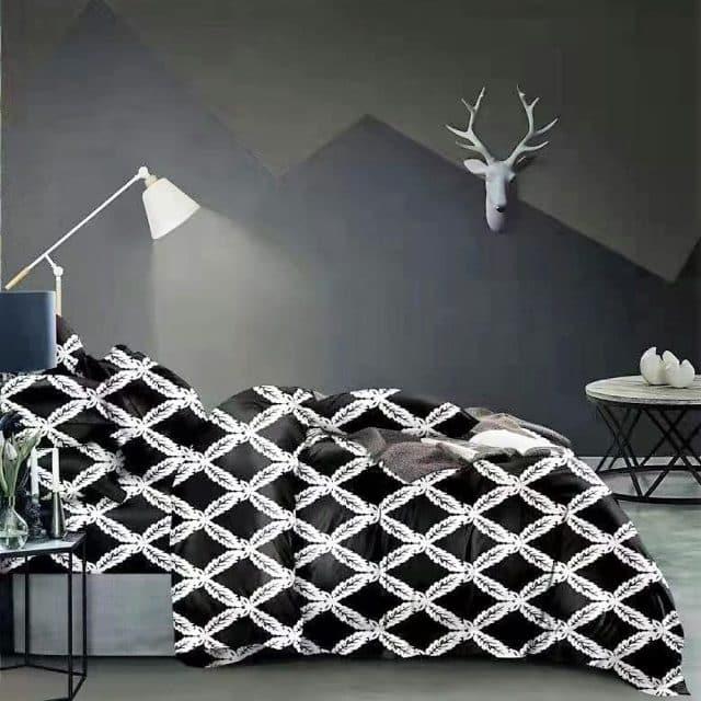 fekete fehér alapon hagyományos pamut ágynemű