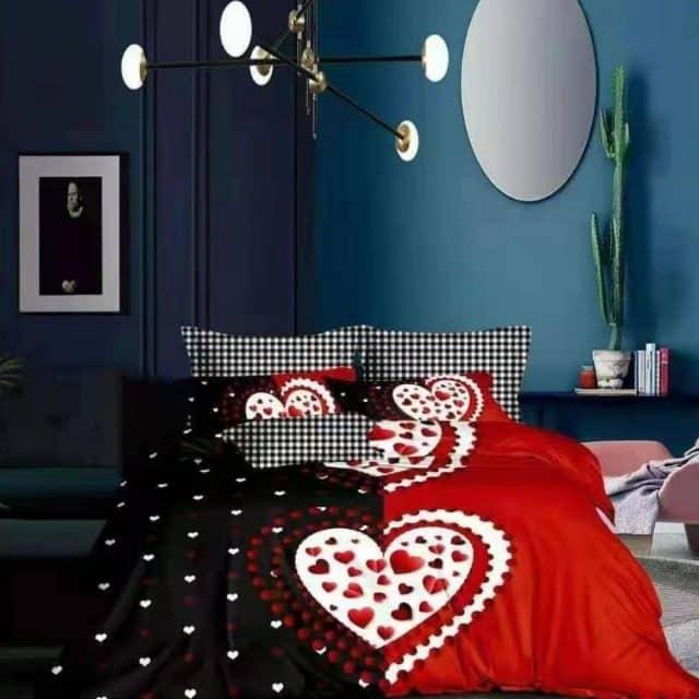 pamut ágynemű nagy szívvel fekete piros