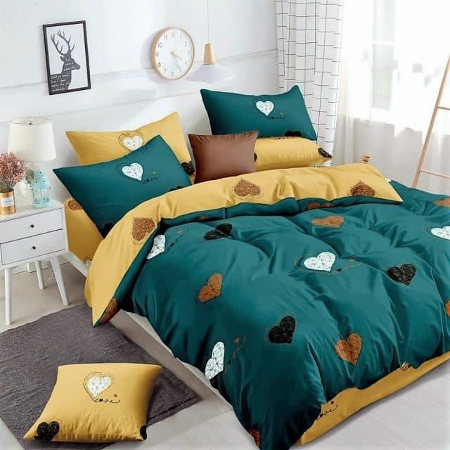 szív mintával sárga zöld pamut ágynemű