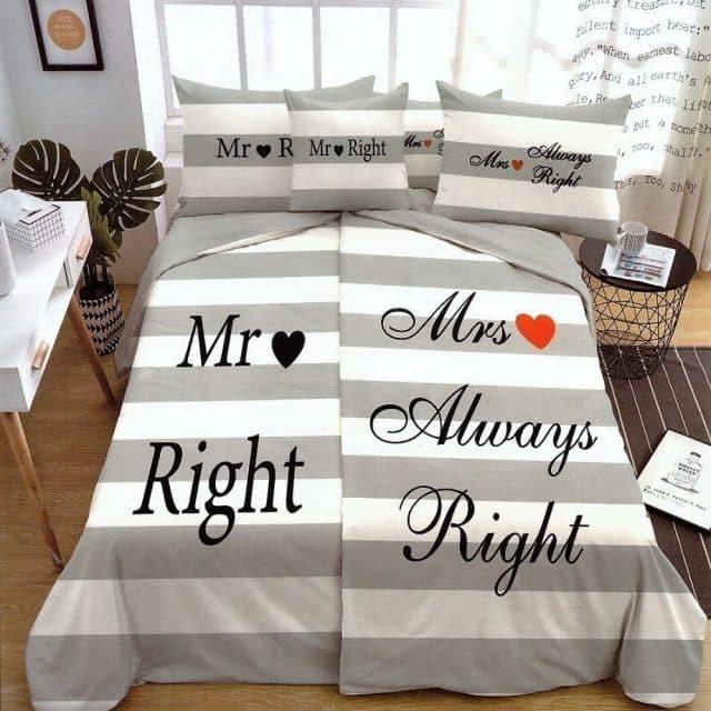 Ágyneműhuzat Mr És Mrs Felirattal