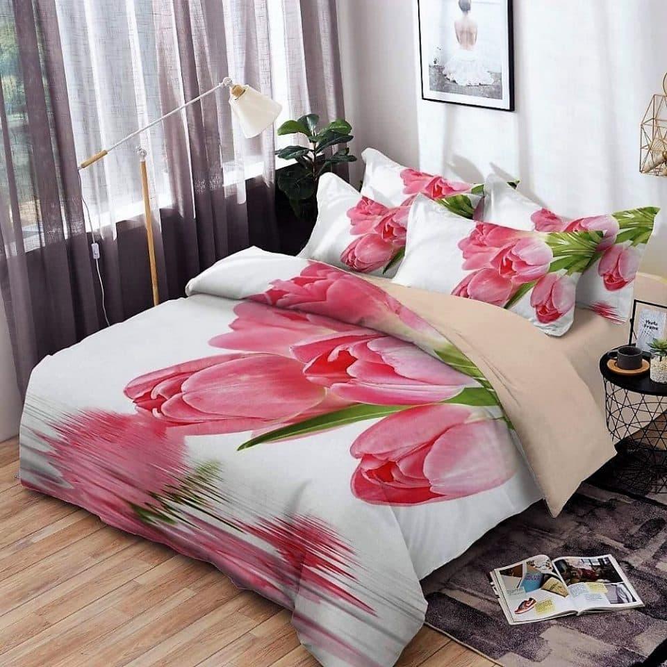 ágynemű garnitúra fehér színben virág mintával