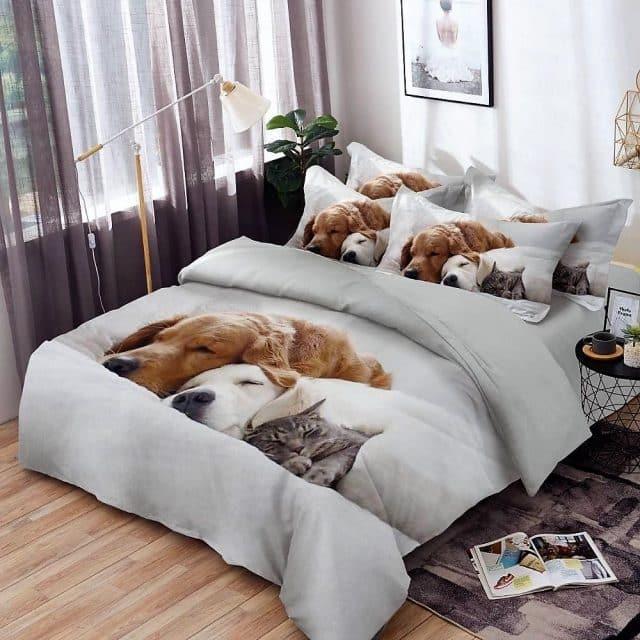 ágynemű garnitúra kutyus és cica mintával