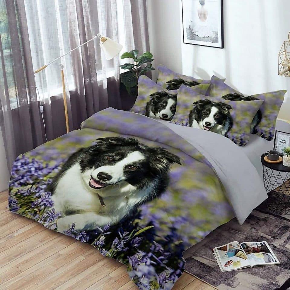 ágynemű garnitúra kutyus és virág mintával
