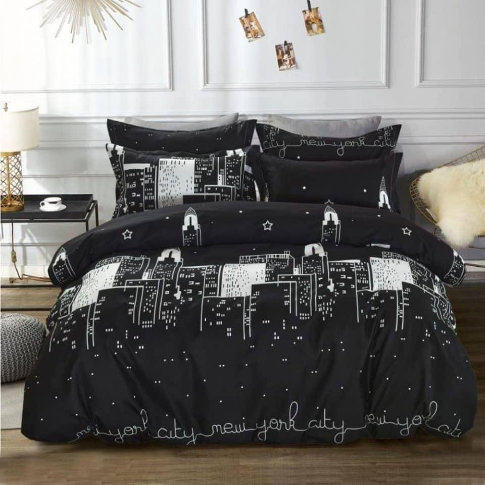 fekete színben fehér new york ágyneműhuzat