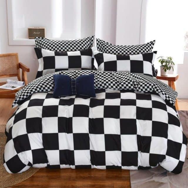 négyzet minta fekete fehér színben ágyneműhuzat