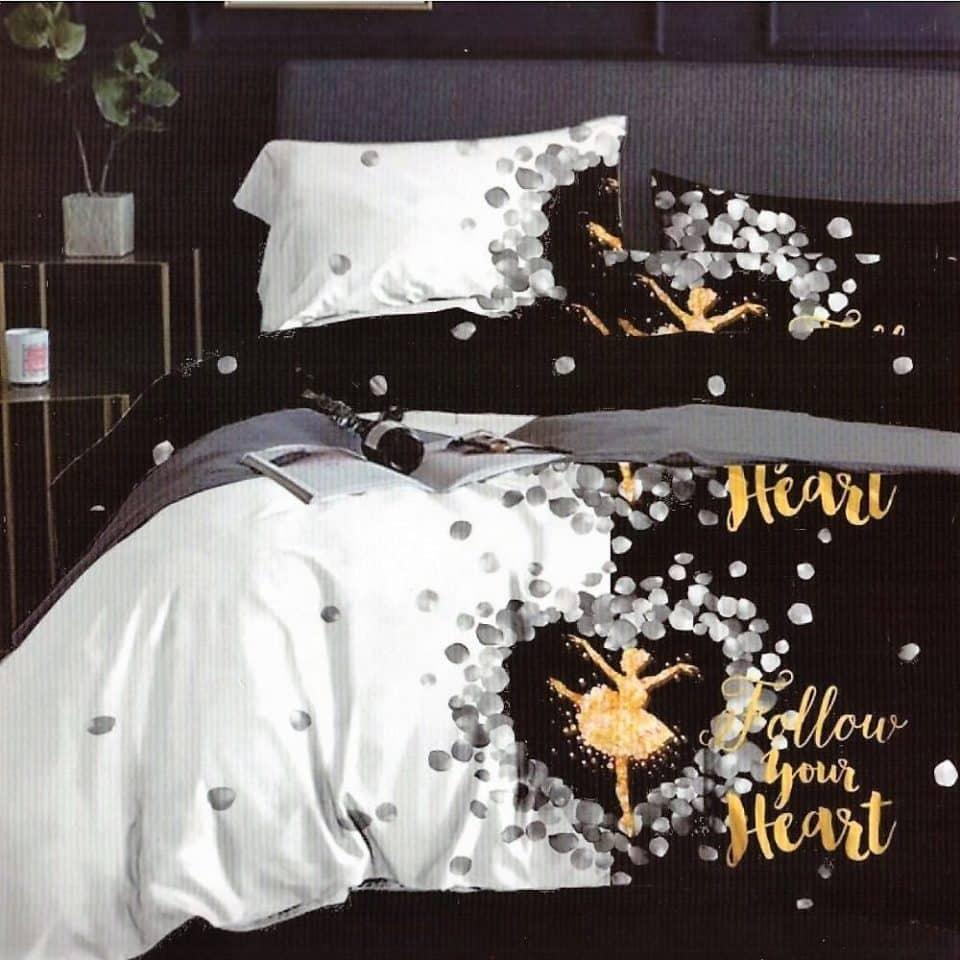 pamut ágynemű fekete fehér szív minta