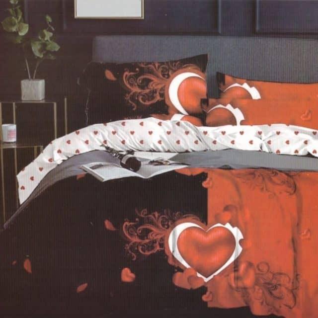 pamut ágynemű fekete piros szív mintával