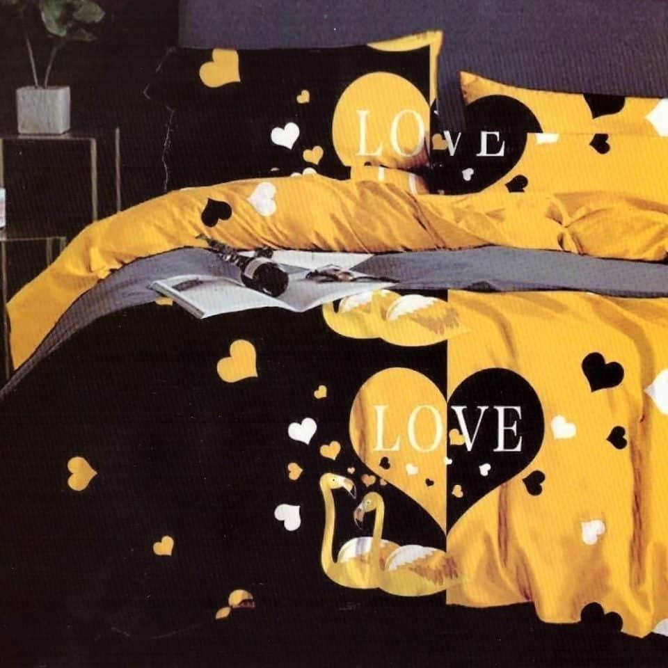 pamut ágynemű fekete sárga szín szívvel