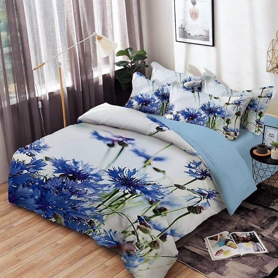 pamut ágynemű garnitúra kék virágok mintával