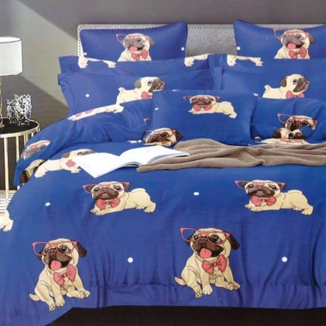 pamut ágynemű kék színben mopsz kutyus