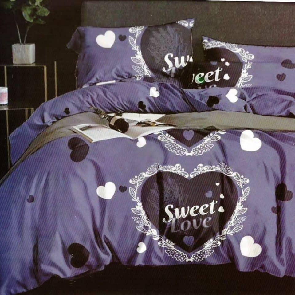 pamut ágynemű kék színben nagy szívvel