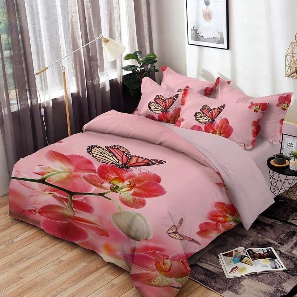 pamut ágynemű virág pillangó rózsaszín alapon