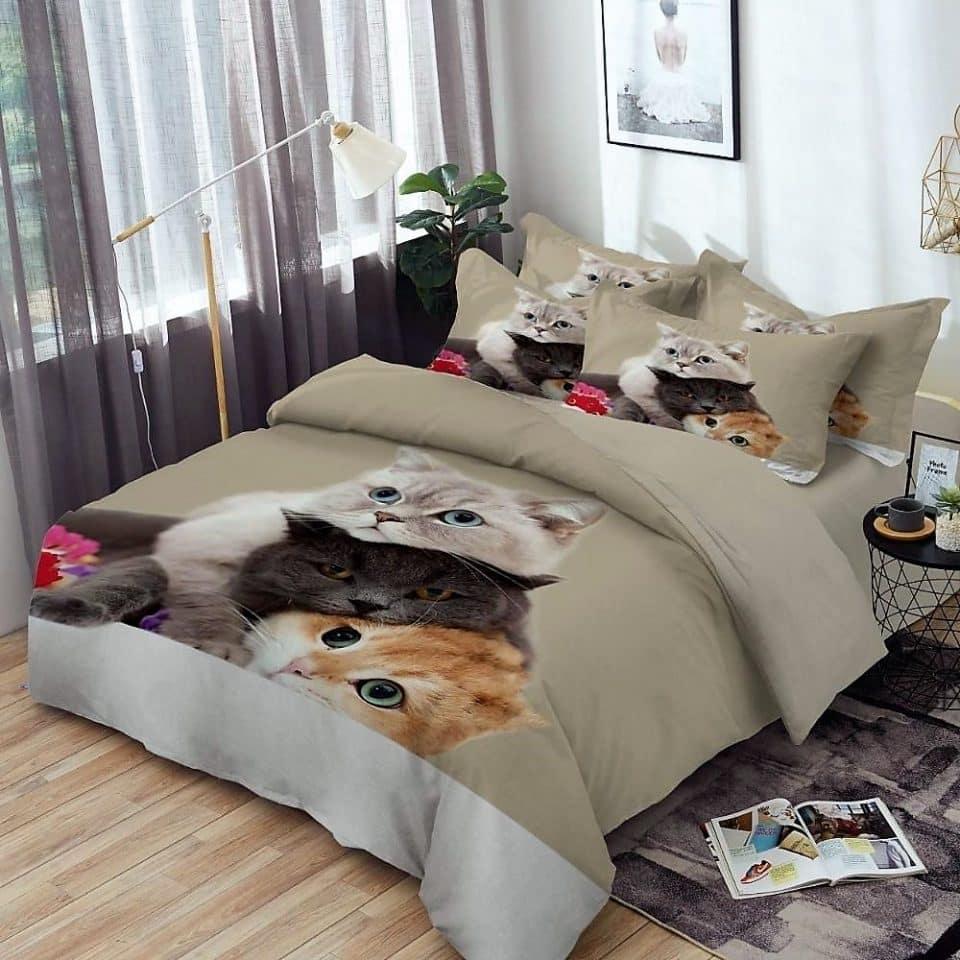 pamut ágyneműhuzat aranyos cica mintával
