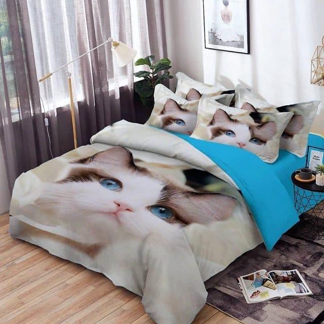 pamut ágyneműhuzat kék szemű cica mintával