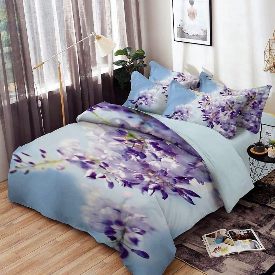 pamut ágyneműhuzat kék színben szép virágok