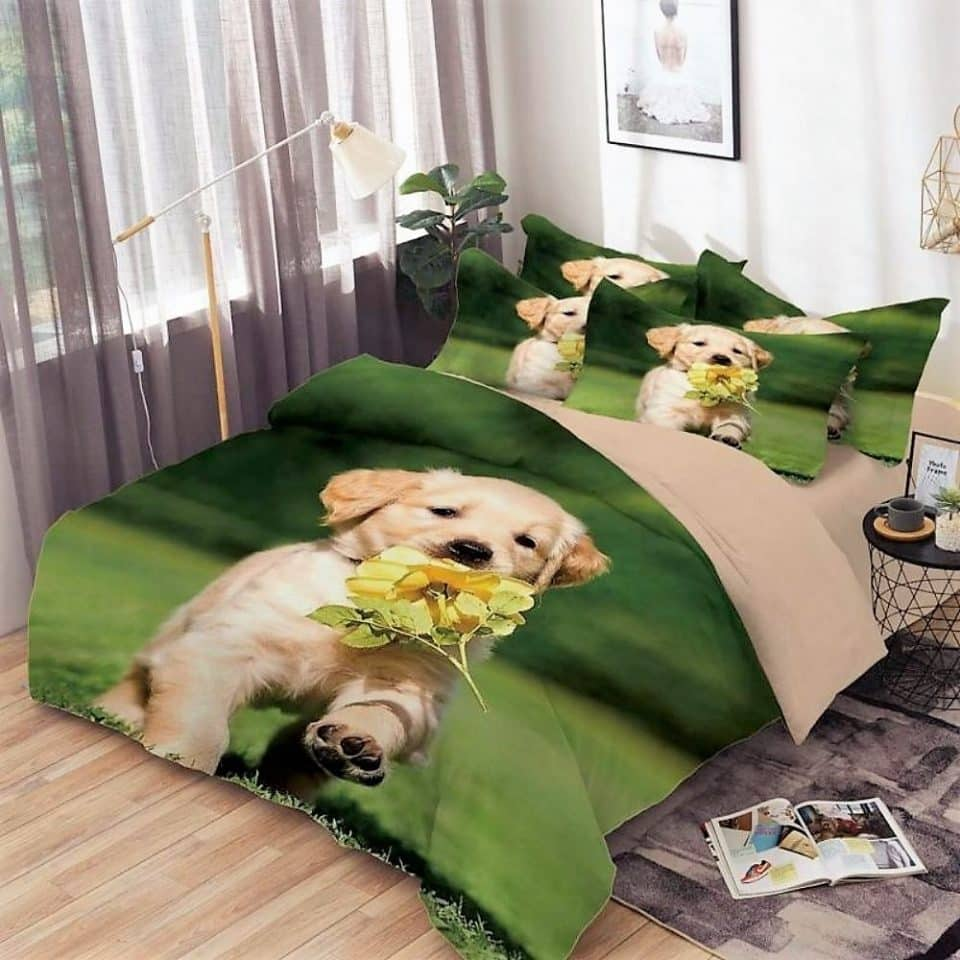 pamut ágyneműhuzat zöld háttér kutyus minta