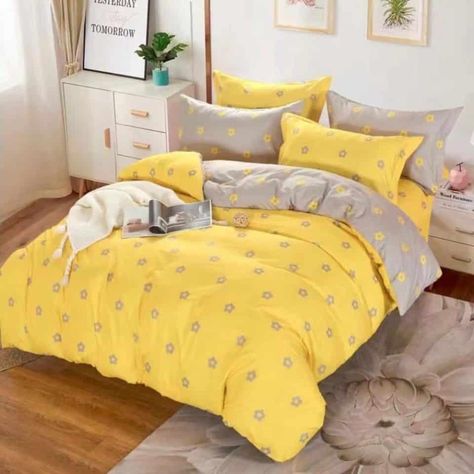 sárga szürke színben apró virágok ágyneműhuzat