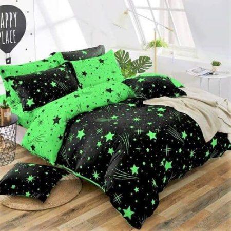 Ágynemű Fekete Zöld Csillagos