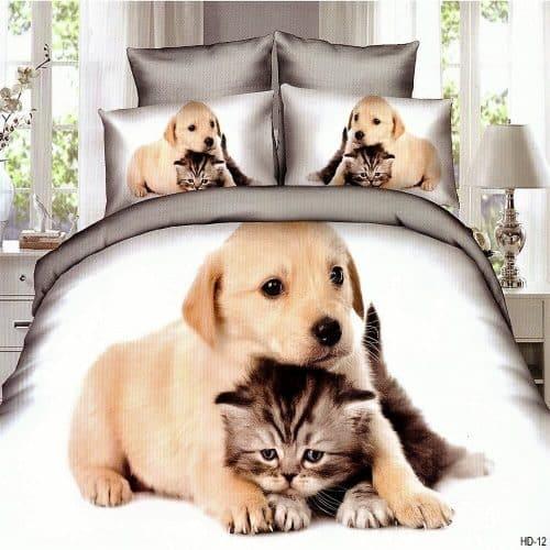 Ágynemű Garnitúra Kutyus És Cicával