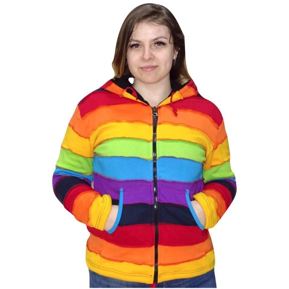 Női Kabát Csíkos Szivárvány
