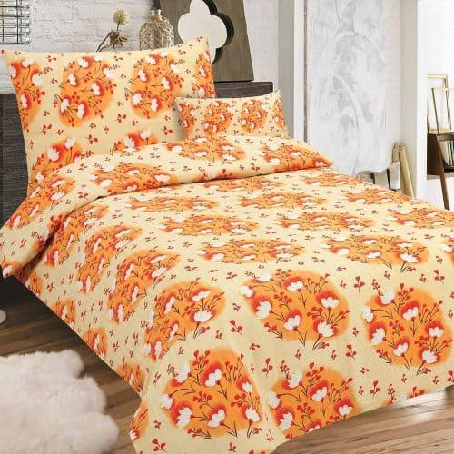 Krepp Ágynemű Narancs Színú Virág