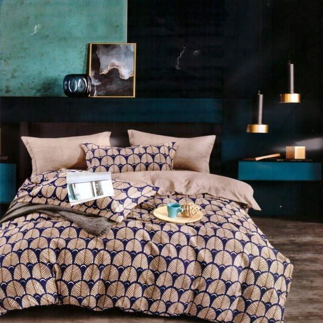 Pamut Ágynemű Bézs Kék Szín