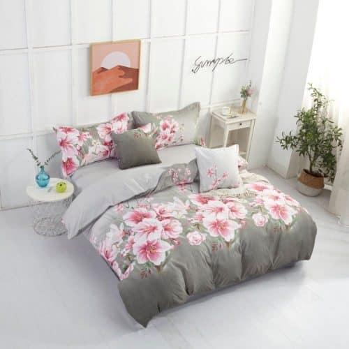 Krepp Ágynemű Rózsaszín Virágokkal