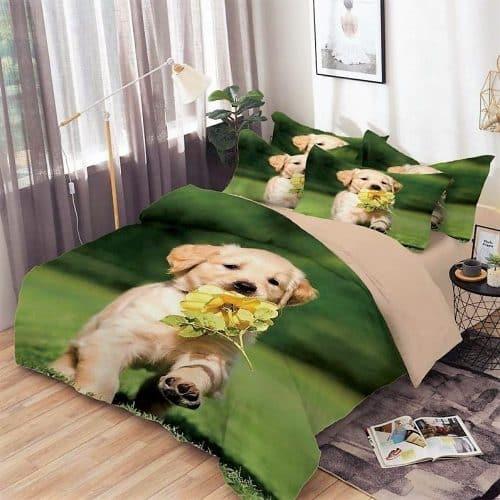Pamut Ágynemű Zöld Háttér Kutyus