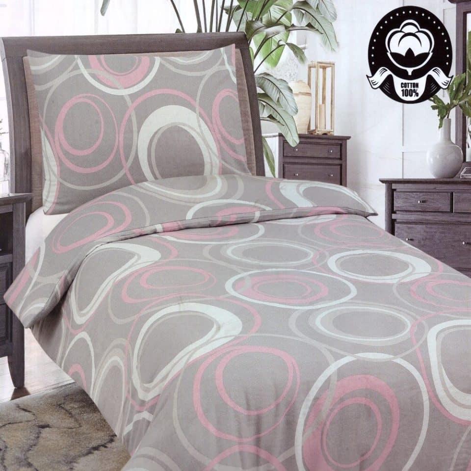 Pamut Ágynemű Fehér Rózsaszín Karika