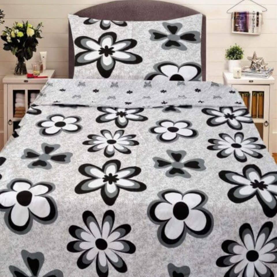 Pamut Ágyneműhuzat Fekete Virágokkal