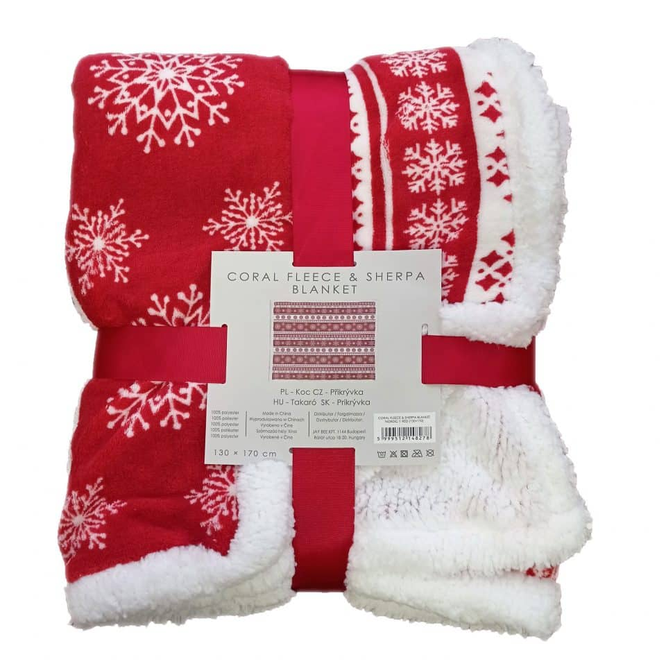 Takaró Piros Fehér Karácsonyos